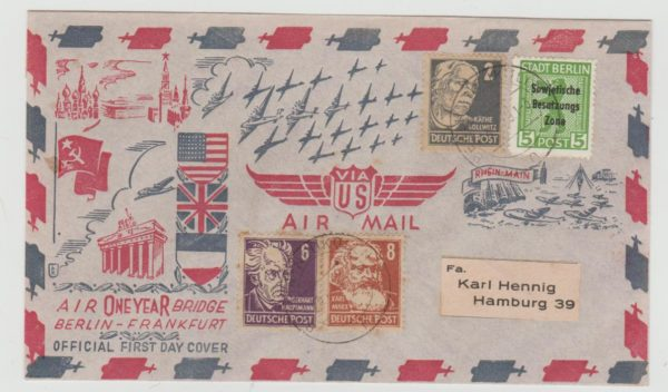 BERLIN AIRLIFT COMMEMORATIVE ENVELOPE FRANKED WITH RUSSIAN ZONE ISSUES