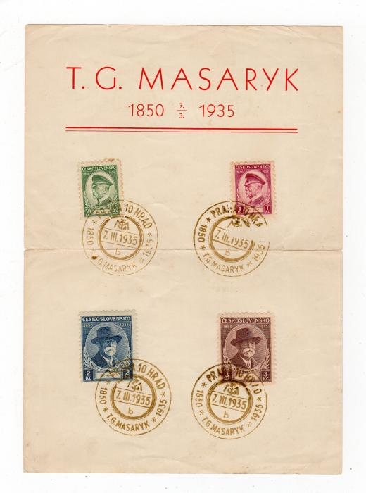 CZECHOSLOVAKIA: 1935 MASARYK COMMEMORATIVE SOUVENIR SHEET.