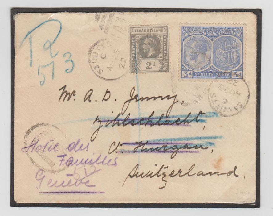 LEEWARD ISLANDS ST KITTS-NEVIS MIXED FRANKINGTO SWITZERLAND 1922
