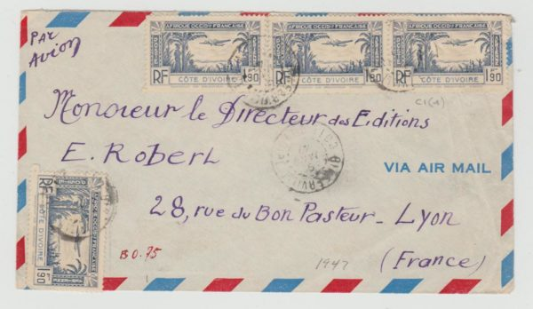 IVORY COAST AIRMAIL COVER BINGERVILLE TO LYON 1947