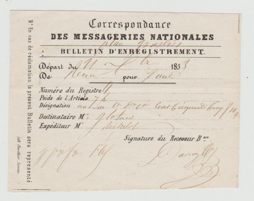 FRANCE REGISTRATION VOUCHER FOR TRANSPORT COMPANY 1853