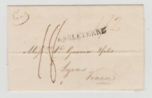 OUTER WRAPPER FROM LONDON TO LYON WITH FORWARDING AGENT'S CACHET 1817