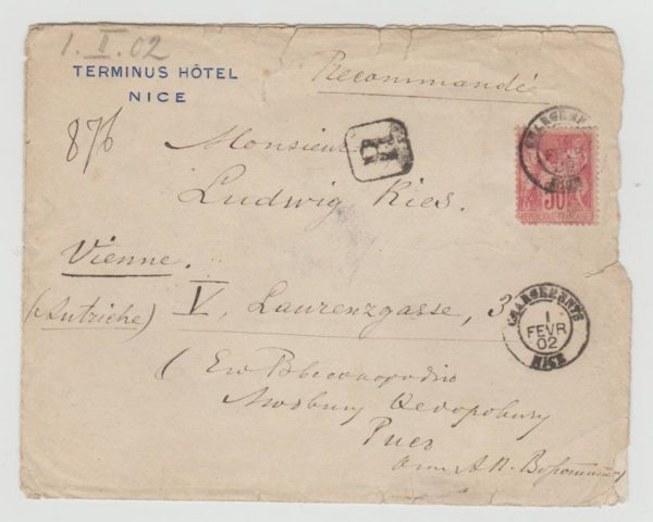 FRANCE REGISTERED ENVELOPE FROM NICE TO VIENNA 1902
