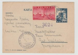POLAND PICTORIAL POSTAL CARD TO GERMANY 1946 WITH US CENSOR