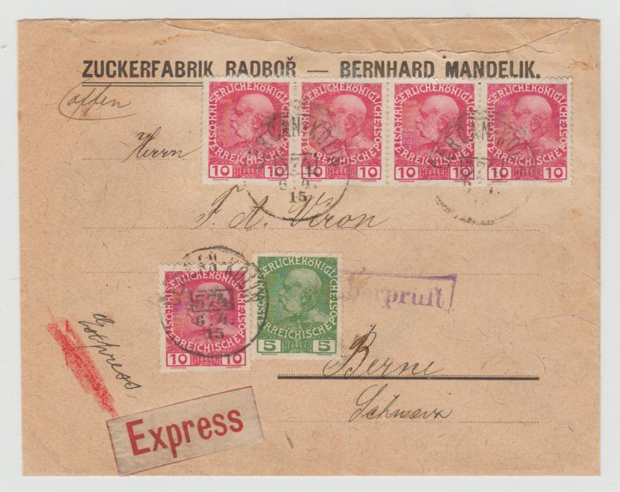 AUSTRIA 1915 EXP0RESS COVER TO SWITZERLAND WITH RAILWAY CANCEL & CENSOR HANDSTAMP