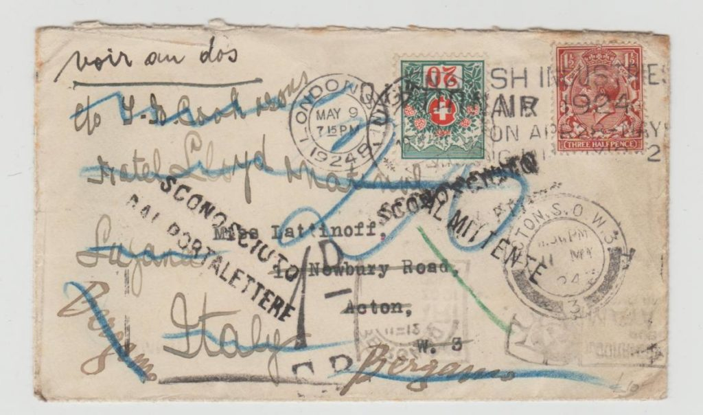 GB/SWITZERLAND MUCH TRAVELLED COVER WITH SWISS POSTAGE DUE 1924
