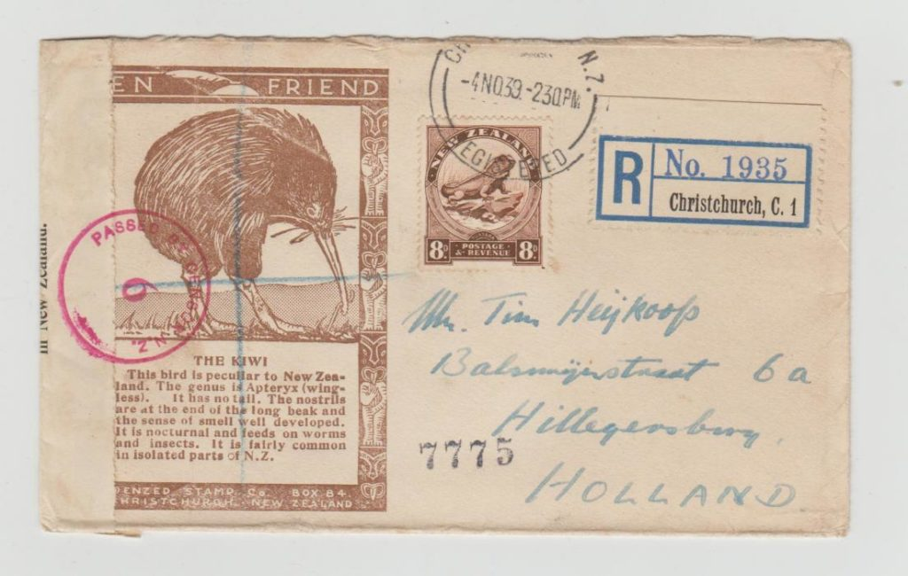 NEW ZEALAND 'KIWI' ENVELOPE REGISTERED TO HOLLAND 1939