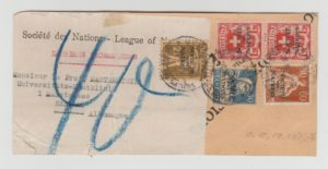 SWITZERLAND LEAGUE OF NATIONS ISSUES ON FRAGMENT OF LARGE ENVELOPE 1928 (?)