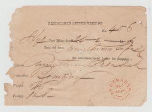 REGISTERED LETTER RECEIPT HYDERABAD 1867