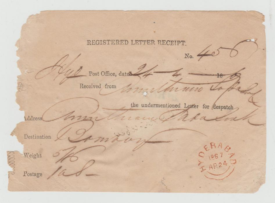 REGISTERED LETTER RECEIPT HYDERABAD 1867