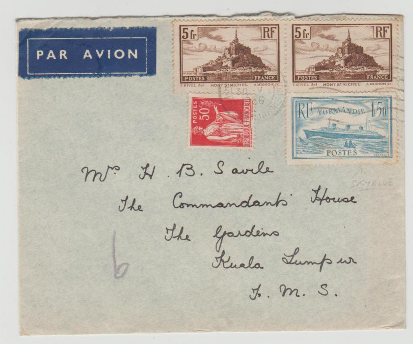 FRANCE AIRMAIL COVER WITH 'NORMANDIE' PALE BLUE