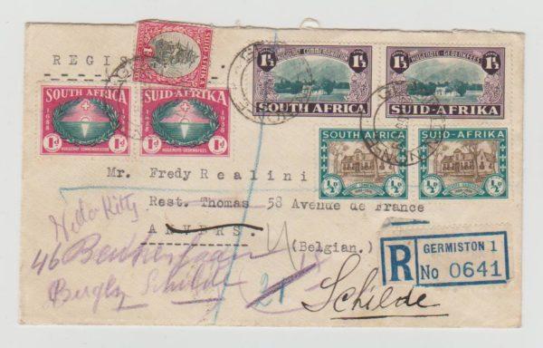 SOUTH AFICA HUGUENOT COMMEMORATION 1939 IN BI-LINGUAL PAIRS TO BELGIUM