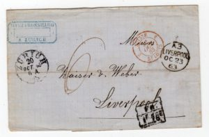 SWITZERLAND: 1863 STAMPLESS COVER TO LIVERPOOL WITH ACCOUNTANCY MARK.