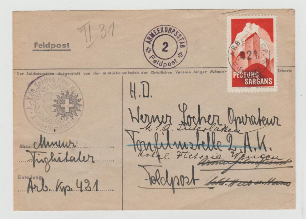 SWITZERLAND PROPER FELDPOST MAIL FRANKED WITH SWISS ARMY STAMP 1941