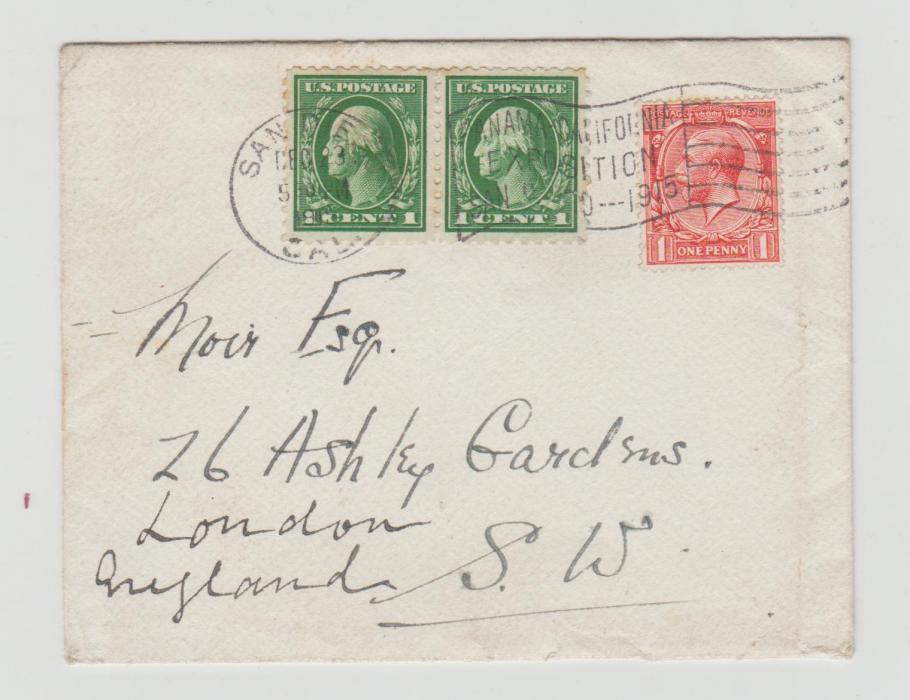 MIXED FRANKING GREAT BRITAIN & USA 1916