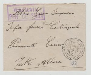 ITALY INTERNAL MAIL CENSORED IN WW1 1915