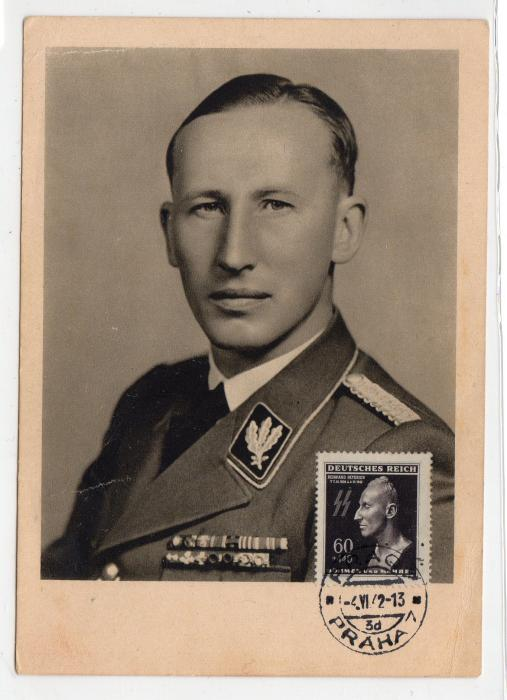 BOHEMIA & MORAVIA: 1942 POSTCARD OF HEYDRICH WITH THE MOURNING STAMP.