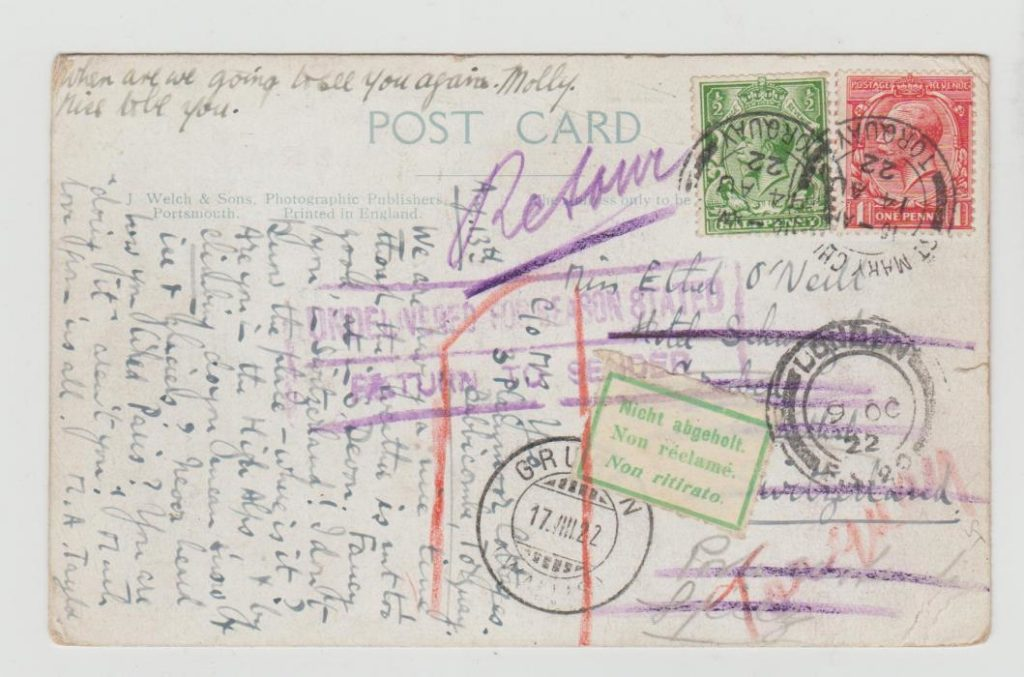 POSTCARD FROM TORQUAY TO SWITZERLAND RETURNED TO SENDER 1922