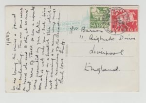 CARD FROM RIO POSTED AT SEA WITH SWEDISH STAMPS TO LIVERPOOL 1937