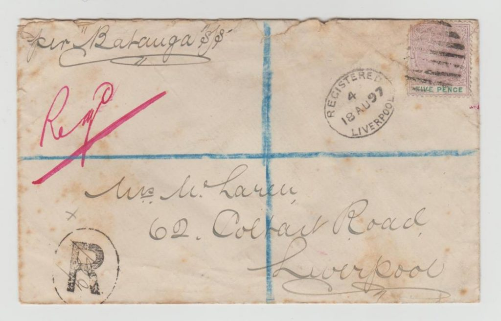 LAGOS FIVE PENCE ON REGISTERED LETTER TO LIVERPOOL 1897