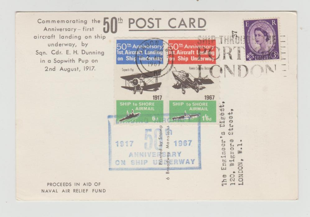GB 50th ANNIVERSARY OF AIRCRAFT LANDING ON A MOVING SHIP 1967