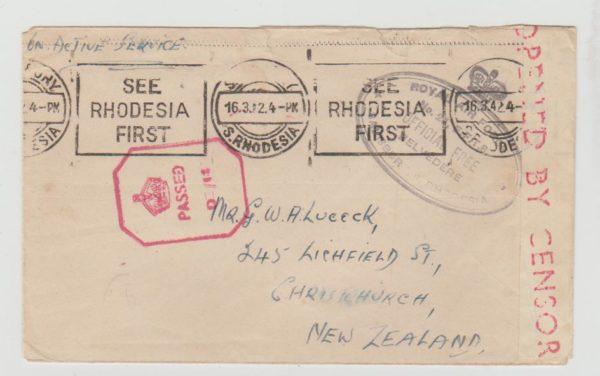 RHODESIA TO NEW ZEALAND RAAF 1942 CENSORED