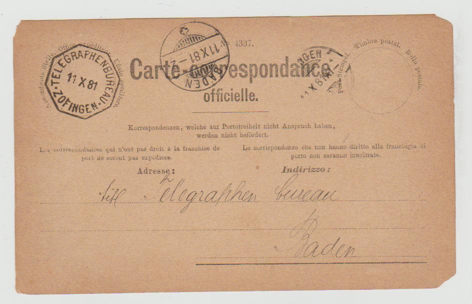 SWITZERLAND OFFICIAL CARD WITH TELEGRAPH OFFICE CACHET 1881