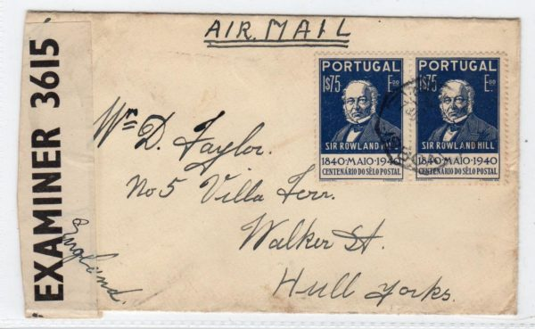 PORTUGAL: WW2 CENSORED AIRMAIL COVER TO ENGLAND.
