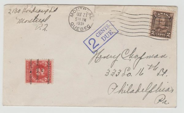 ENVELOPE CANADA TO USA POSTAGE DUE 1931