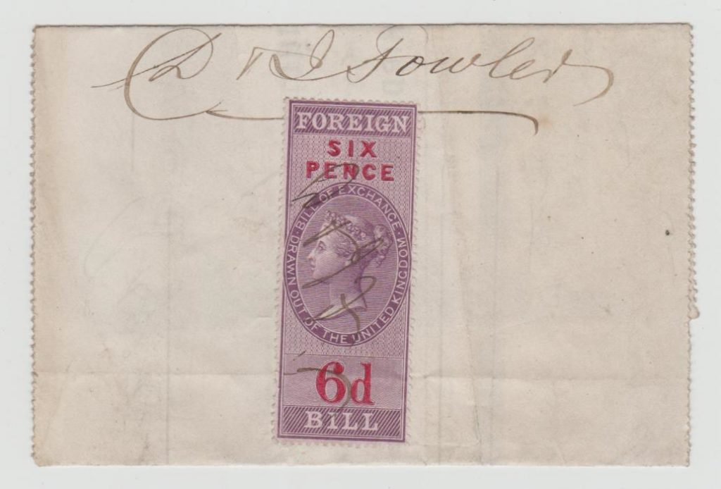 BILL OF EXCHANGE FROM ADELAIDE TO YORKSHIRE 1870