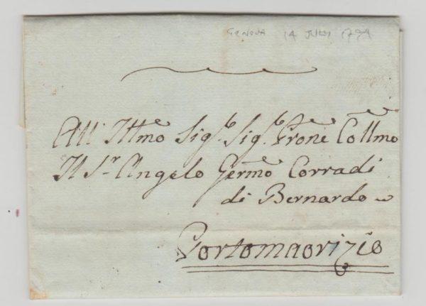 ITALIAN PRE-STAMP ENTIRE FROM GENOA TO PORTO MAURIZIO 1794