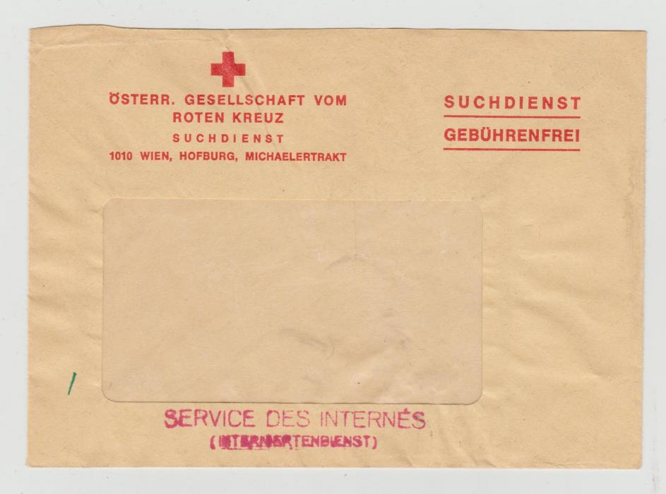 AUSTRIAN RED CROSS WINDOW ENVELOPE FOR INTERNEES