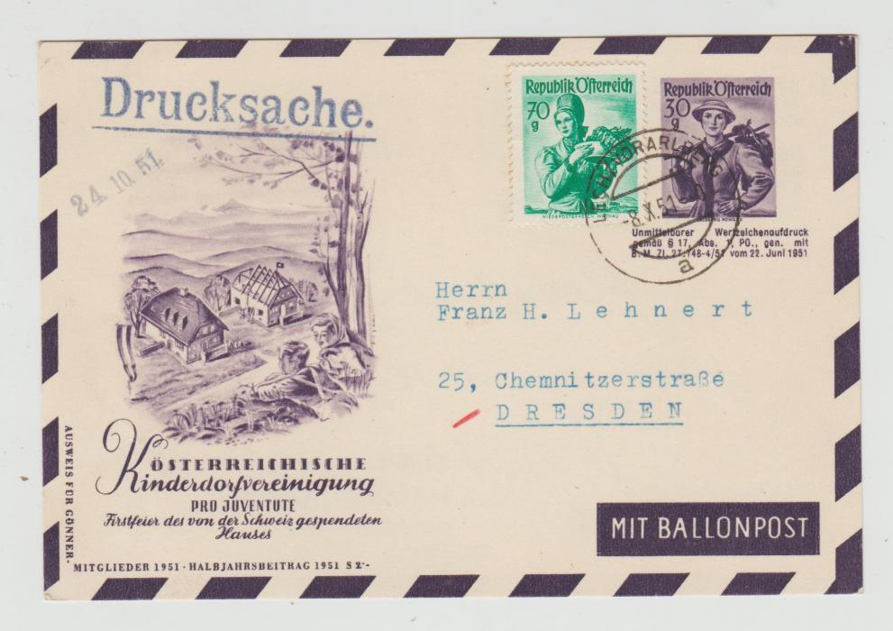 AUSTRIA PRO JUVENTUTE ENVELOPE BY BALLOON POST 1951