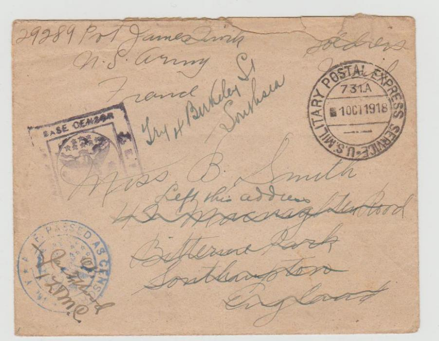 USA FORCES ENVELOPE FRANCE OCTOBER 1918 to GB