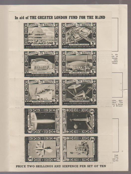 GB FESTIVAL OF BRITAIN COMMEMORATIVE POSTER STAMPS IN FOLDER 1951