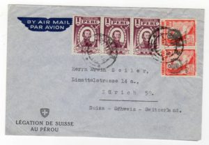 PERU: 1948? AIRMAIL COVER FROM SWISS LEGATION.