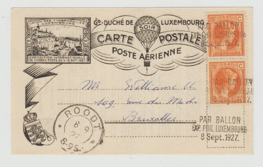 LUXEMBOURG BALLOON CARD FOR INTERNATIONAL STAMP EXHIBITION 1927