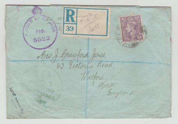 GB WW2 FPO 611 FAROE ISLANDS ON REGISTERED LETTER 1942