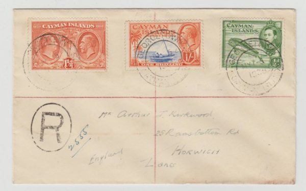 CAYMAN ISLANDS REGISTERED MIXED FRANKING TO LANCS 1938