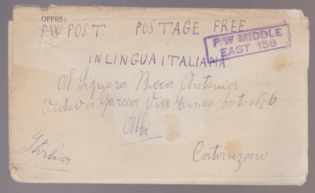 ITALIAN POW LETTERSHEET FROM CAMP IN EGYPT 1943