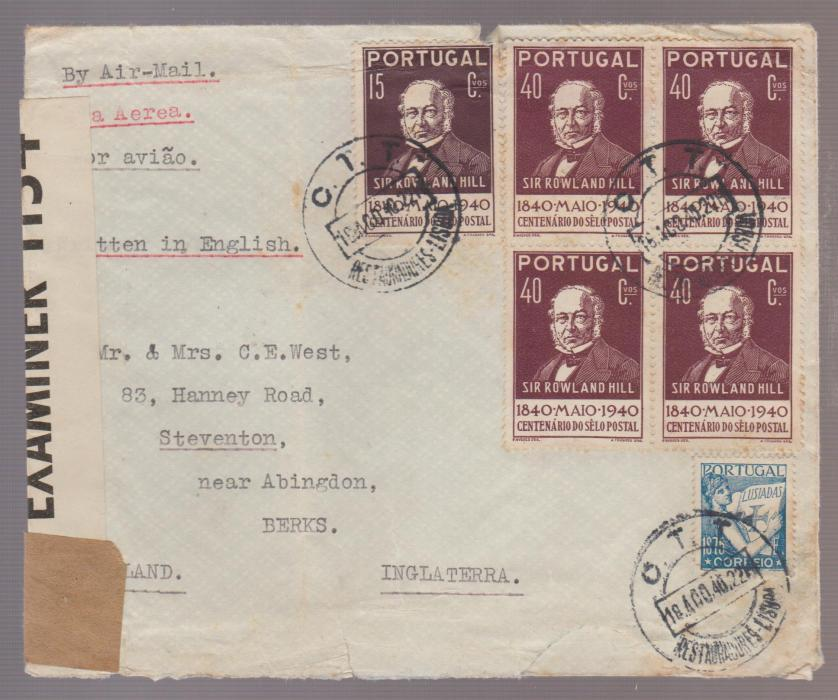 PORTUGAL WW2 COVER LISBON TO UK CENSORED 1940
