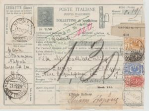 ITALIAN PARCEL CARD WITH PACCHI POSTALI LABELS 1929