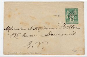 "FRANCE: TYPE SAGE POSTAL STATIONERY WITH ""21"" JOUR DE L'AN POSTMARK."