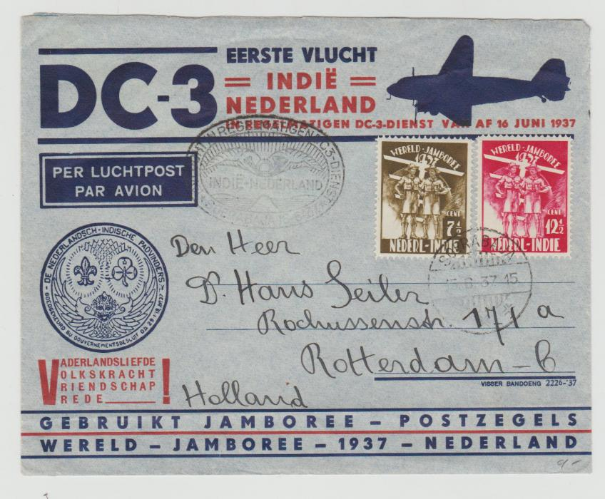 DUTCH EAST INDIES FIRST FLIGHT TO ROTTERDAM & WORLD SCOUT JAMBOREE 1937
