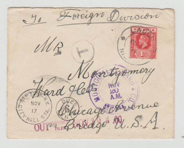 NIGERIA KGV1 1d RATE TO CHICAGO 1919 POSTAGE DUE
