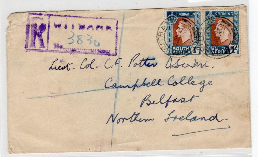 SOUTH AFRICA: 1937 REGISTERED COVER TO NORTHERN IRELAND.