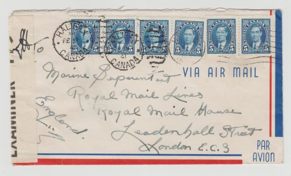 CANADA MULTI-FRANKED CENSORED AIRMAIL TO GB 1941