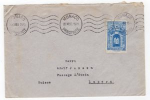 MONACO: 1950 COVER TO SWITZERLAND WITH SG397.