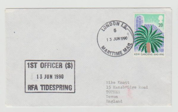 ENVELOPE FROM THE BRITISH NAVAL CONTINGENT DURING THE LIBERIA EMERGENCY 1990