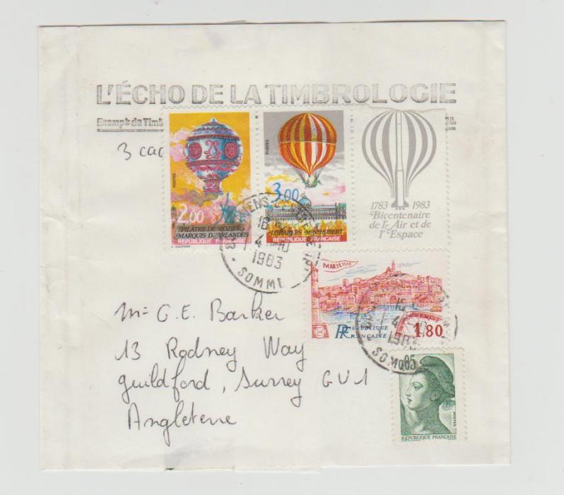 FRENCH BALLOON BICENTENARY STRIP ON WRAPPER TO GUILDFORD 1983
